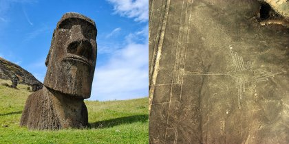 Moai Statues of Easter Island and Nazca Lines